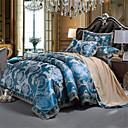 billige Luksuriøse dynetrekk-dynetrekk setter bule / sølvtrykt mønster / ultra myk luksuriøs jacquard 4-delige sengetøy sett / full, queen size