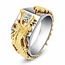 ราคาถูก แหวน-สำหรับผู้หญิง แหวน Cubic Zirconia 1pc สีทอง โลหะผสม วงกลม อินเทรนด์ สง่างาม งานแต่งงาน เครื่องประดับ แฟนซี มังกร Heart
