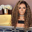 Χαμηλού Κόστους Συνθετικές περούκες χωρίς σκουφί-Συνθετικές Περούκες Κατσαρά Ίσια Μέσο μέρος Περούκα Μακρύ Blonde Συνθετικά μαλλιά 26 inch Γυναικεία Γυναικεία Σκούρο Καφέ