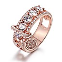 billige Motering-Dame Ring Kubisk Zirkonium 1pc Hvit Rose Gull Legering Sirkelformet trendy Elegant Bryllup Smykker Søtt