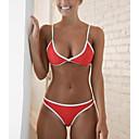 billiga Kroppssmycken-Dam Grundläggande Rubinrött Triangel Kaxig Bikini Badkläder - Enfärgad Öppen rygg S M L Rubinrött