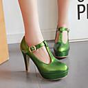ราคาถูก รองเท้าแตะและรองเท้าโลฟเฟอร์สำหรับผู้หญิง-สำหรับผู้หญิง PU ฤดูใบไม้ผลิ & ฤดูใบไม้ร่วง อังกฤษ / Preppy รองเท้าส้นสูง ส้นหนา ปลายกลม ส้ม / สีเขียว / สีชมพู / พรรคและเย็น