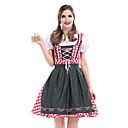 baratos Oktoberfest-Oktoberfest Dirndl Trachtenkleider Mulheres Vestido Bávaro Ocasiões Especiais Vermelho