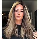 billige Syntetiske parykker uten hette-Syntetiske parykker Kinky Glatt Midtdel Parykk Lang Blond Syntetisk hår 22 tommers Dame Dame Mørkebrun
