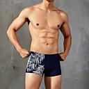 ราคาถูก ไฟแสงจ้าLED-สำหรับผู้ชาย สีดำ ขาว สีแดงชมพู กางเกงว่ายน้ำ ชุดว่ายน้ำ - สีพื้น S M L สีดำ