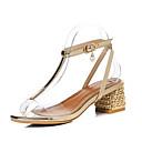 ราคาถูก รองเท้าแตะผู้หญิง-สำหรับผู้หญิง Synthetics ฤดูร้อนฤดูใบไม้ผลิ รองเท้าแตะ ส้นหนา เปิดนิ้ว สีทอง / เงิน / แดง / พรรคและเย็น