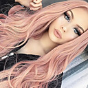 Χαμηλού Κόστους Χωρίς κάλυμμα-Συνθετικές Περούκες Σγουρά Κυματομορφή Σώματος Κούρεμα καρέ Ασύμμετρο κούρεμα Μέσο μέρος Περούκα Ροζ Μακρύ Ροζ Μωβ Συνθετικά μαλλιά 24 inch Γυναικεία συνθετικός Φυσική γραμμή των μαλλιών Στη μέση Ροζ