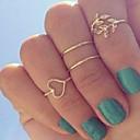 billiga Modeörhängen-Dam Ring Ring Set Kubisk Zirkoniumoxid 4pcs Guld Silver Legering Cirkelrunda Trendig Elegant Bröllop Smycken Gulligt