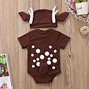 billige Undertøy og sokker til jenter-Baby Gutt Aktiv / Grunnleggende Trykt mønster Kort Erme Endelt Brun