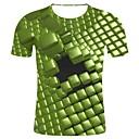 billige Mote Boots-Bomull Rund hals Store størrelser T-skjorte Herre - Geometrisk / 3D / Grafisk, Trykt mønster 3D-trykk / Kunstnerisk Stil Grønn