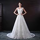 baratos Vestidos de Casamento-Linha A Decote Princesa Cauda Capela Renda / Tule Alças Regulares Vestidos de casamento feitos à medida com Apliques / Botões 2020