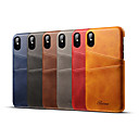 ราคาถูก เคสสำหรับ iPhone-Case สำหรับ Apple iPhone XS / iPhone XR / iPhone XS Max Card Holder ปกหลัง สีพื้น Hard หนังแท้
