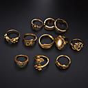 billige Ring Set-Dame Ring Ring Set Kubisk Zirkonium 11 deler Gull Sølv Legering Sirkelformet Enkel trendy Bryllup Smykker Søtt