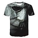 Χαμηλού Κόστους Αντρικά Αθλητικά-Ανδρικά Μεγάλα Μεγέθη T-shirt Εξωγκωμένος 3D / Πορτραίτο Στρογγυλή Λαιμόκοψη Στάμπα Σκούρο γκρι XXXXL / Κοντομάνικο
