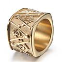 ราคาถูก รองเท้าผ้าใบผู้ชาย-สำหรับผู้ชาย แหวน 1pc สีทอง สีทอง-ดำ Titanium Steel Geometric Shape Stylish ของขวัญ ทุกวัน เครื่องประดับ สไตล์วินเทจ สมาชิก ความปิติยินดี เท่ห์