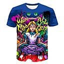 baratos Acessórios de Festa-Homens Tamanhos Grandes Camiseta Básico Estampado, Estampa Colorida / 3D / Desenho Animado Decote Redondo Azul Real XXXXL / Manga Curta
