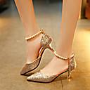 povoljno Sintetičke perike s čipkom-Žene Sandale Stiletto potpetica Zatvorena Toe PU Ležerne prilike Proljeće ljeto Crn / Zlato / Pink