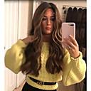 Χαμηλού Κόστους Συνθετικές περούκες με δαντέλα-Συνθετικές Περούκες Κατσαρά Ίσια Μέσο μέρος Περούκα Μακρύ Ξανθό Συνθετικά μαλλιά 22 inch Γυναικεία Γυναικεία Σκούρο Καφέ