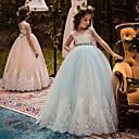 זול הלבשה לריקודי בלט-נשף ארוך שמלה לנערת הפרחים - כותנה / טול ללא שרוולים עם תכשיטים עם אפליקציות / ריקמה / תחרה על ידי LAN TING Express