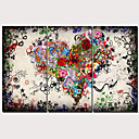 povoljno Slike za cvjetnim/biljnim motivima-Print Stretched Canvas Prints - Sažetak Tradicionalno Moderna Tri plohe Umjetničke grafike