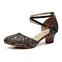 ราคาถูก รองเท้าเต้นโมเดิร์นและรองเท้าบัลเล่ต์-สำหรับผู้หญิง รองเท้าเต้นรำ หนังเทียม โมเดอร์น ลูกไม้ ส้น หนา Heel ตัดเฉพาะได้ สีทอง / สีดำ / แดง / Performance / ฝึก