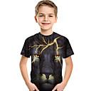 billiga Nagelset-Barn Småbarn Pojkar Aktiv Grundläggande Lejon Tryck 3D Djur Tryck Kortärmad T-shirt Svart