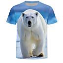 billige Fuskediamant-T-skjorte Herre - 3D / Dyr / Tegneserie, Trykt mønster Lyseblå