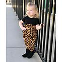billige Babydrakter-Baby Jente Aktiv / Grunnleggende Leopard Trykt mønster Kort Erme Bomull Kjeledress og jumpsuit Svart