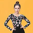 povoljno Svečana plesna odjeća-Klasični plesovi Majice Žene Seksi blagdanski kostimi Umjetna svila Nabori Dugih rukava Top
