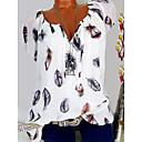 baratos Perucas de Cabelo Humano Sem Touca-Mulheres Camiseta Floral, Gráfico Decote V Preto / Primavera / Verão / Outono / Inverno