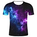 baratos Ternos & Blazers Masculinos-Homens Tamanhos Grandes Camiseta Estampa 3D / Galáxia Estampado, Galáxia / 3D / Gráfico Algodão Decote Redondo Preto