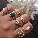 זול עגילים אופנתיים-בגדי ריקוד נשים טבעת טבעת הגדר זירקונה מעוקבת 7pcs זהב סגסוגת מעגלי Geometric Shape פשוט טרנדי אלגנטית חתונה תכשיטים חמוד