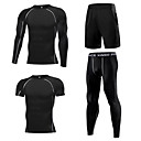 ราคาถูก เสื้อ, กางเกงขายาวและกางกางขาสั้นสำหรับใส่วิ่ง-1bests สำหรับผู้ชาย 4 ชิ้น Elastane Tracksuit วิ่ง การออกกำลังกาย ยิมออกกำลังกาย กีฬา ขนาดพิเศษ Lightweight ระบายอากาศ แห้งเร็ว Sweat-wicking ชุดออกกำลังกาย แขนยาว ชุดทำงาน ความยืดหยุ่นสูง เพรียวบาง