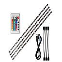ราคาถูก เครื่องมือวัดอุณหภูมิ-0.5 ไฟสาย LED ปรับได้ / ไฟสาย RGB 15 ไฟ LED SMD5050 1 รีโมทคอนโทรล 24Keys RGB พื้นหลังของทีวี USB Powered 1set