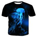 Χαμηλού Κόστους Αντρικά Κολιέ-Ανδρικά Μέγεθος EU / US T-shirt Πανκ & Γκόθικ / Εξωγκωμένος - Βαμβάκι 3D / Γραφική / Ζώο Στρογγυλή Λαιμόκοψη Λεπτό Στάμπα Μαύρο / Κοντομάνικο