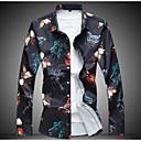 ราคาถูก เสื้อเชิ้ตผู้ชาย-สำหรับผู้ชาย ขนาดพิเศษ เชิร์ต ลายพิมพ์ เพรียวบาง ลายดอกไม้ สีดำ