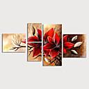 billiga Blom-/växtmålningar-Hang målad oljemålning HANDMÅLAD - Blommig / Botanisk Moderna Inkludera innerram / Fem paneler