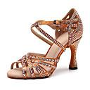 Χαμηλού Κόστους Παπούτσια χορού λάτιν-Γυναικεία Παπούτσια Χορού Φο Δέρμα Παπούτσια χορού λάτιν Τεχνητό διαμάντι Τακούνια Τακούνι καμπάνα Εξατομικευμένο Μαύρο / Καφέ / Επίδοση / Εξάσκηση
