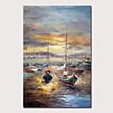 billige Abstrakte malerier-Hang malte oljemaleri Håndmalte - Landskap Abstrakte Landskap Klassisk Vintage Uten Indre Ramme