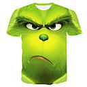 billige Moteøreringer-Rund hals Store størrelser T-skjorte Herre - Fargeblokk Grønn