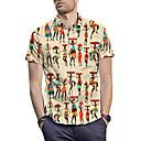 זול בגדי ריצה-3D / דיוקן / שבטי חולצה - בגדי ריקוד גברים דפוס צהוב