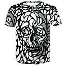 billiga Inomhus Nattljus-3D / Dödskalle Plusstorlekar Bomull T-shirt Herr Rund hals Smal Vit