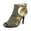 baratos Sapatos de Dança Latina-Mulheres Sapatos de Dança Couro Sintético Sapatos de Dança Latina Salto Salto Alto Magro Personalizável Cinzento / Espetáculo / Ensaio / Prática