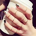 זול עגילים אופנתיים-בגדי ריקוד נשים טבעת טבעת הגדר זירקונה מעוקבת 10pcs זהב סגסוגת מעגלי פשוט טרנדי אלגנטית חתונה תכשיטים חמוד