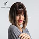 Χαμηλού Κόστους Συνθετικές περούκες χωρίς σκουφί-Συνθετικές Περούκες Κατσαρά Ίσια Φυσικό ευθεία Κούρεμα καρέ Τέλειες αφέλειες Περούκα Μεσαίο Μαύρο / καφέ Συνθετικά μαλλιά 12 inch Γυναικεία Μοδάτο Σχέδιο συνθετικός Μαλλιά με ανταύγειες Καφέ BLONDE