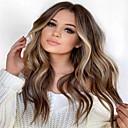 Χαμηλού Κόστους Συνθετικές περούκες χωρίς σκουφί-Συνθετικές Περούκες Κυματομορφή Σώματος Μέσο μέρος Περούκα Μακρύ Σκούρο καφέ / Σκούρο Auburn Συνθετικά μαλλιά 26 inch Γυναικεία Γυναικεία Σκούρο Καφέ