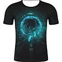 Χαμηλού Κόστους Walkie Talkie-Ανδρικά Μεγάλα Μεγέθη T-shirt Κομψό στυλ street / Εξωγκωμένος - Βαμβάκι 3D Στρογγυλή Λαιμόκοψη Στάμπα Μαύρο