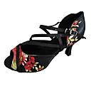 Χαμηλού Κόστους Παπούτσια χορού λάτιν-Γυναικεία Παπούτσια Χορού Σατέν Παπούτσια χορού λάτιν Τακούνια Κουβανικό Τακούνι Εξατομικευμένο Μαύρο / Κόκκινο