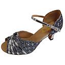 ราคาถูก ผ้าคลุมสำหรับชุดแต่งงาน-สำหรับผู้หญิง รองเท้าเต้นรำ PU ลาติน หินประกาย ส้น ส้นCuban ตัดเฉพาะได้ สีเงิน