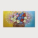 זול ציורים מופשטים-ציור שמן צבוע-Hang מצויר ביד - פרחוני / בוטני מודרני כלול מסגרת פנימית